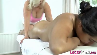Granny massages chubby asian lezzie