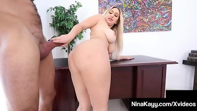 giant booty manager Nina Kayy silenced By phat chisel Latino Intern!
