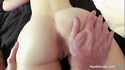 Bubble butt British babe squirts ALL over the hostel bed in real massage! Amateur POV!