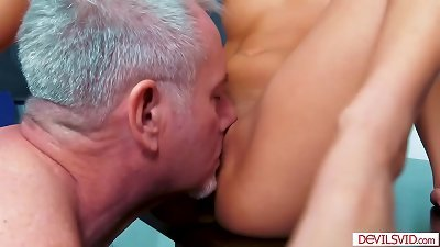 Old instructor fucks his asian nubile student