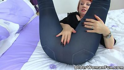 british milf red gets prepped for mess in tight leggings