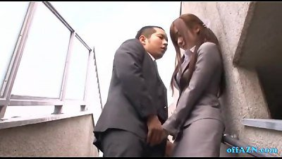 Office girl providing blowjob For man cum To throat spitting wad To arm Outside O