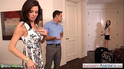 Brunettes India Summer and Veronica Avluv share a phat fuckpole